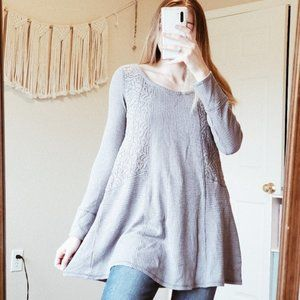 ANTHRO ELOISE Floral Lace Thermal Waffle Knit Top